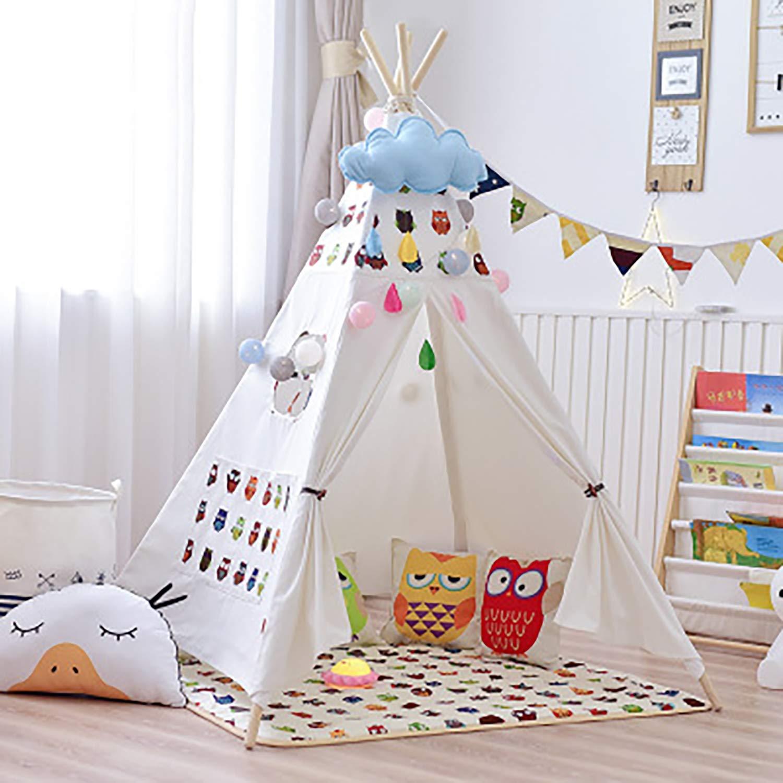 YRE Kinderzelt-Leseecke, Weißszlig;e Baumwoll-Leinwand Baby-Spielzeug-Spiel Haus, geeignet für drinnen und draußen,H H