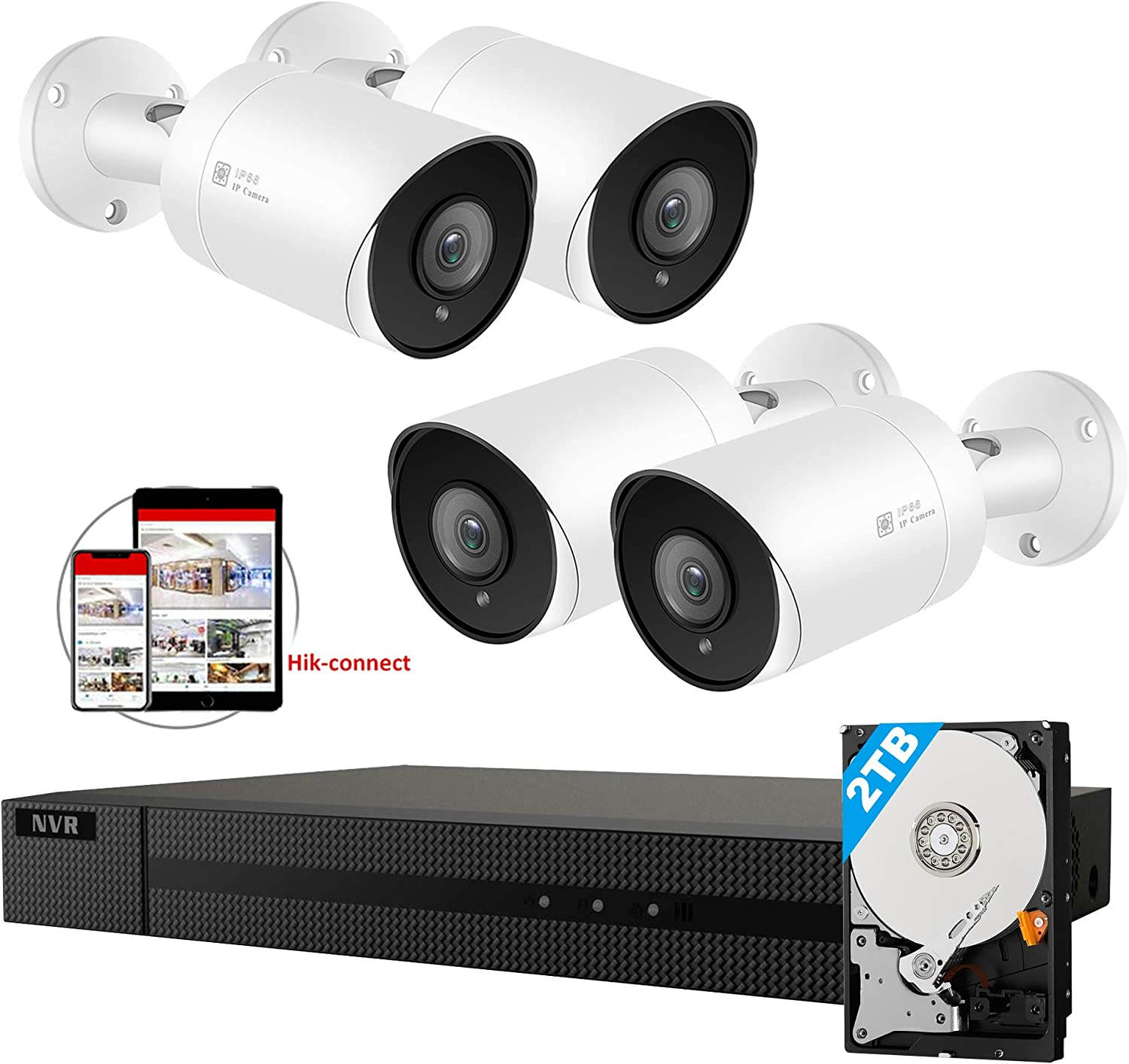 Anpviz 5MP IP POE Security Camera System, 8CH 4K H.265 NVR with 2TB HDD with (4) 5MP Outdoor IP POE Bullet Cameras Home Security System with Audio, Weatherproof, 98ft Night Vision IVMS4200 Hik-Connect