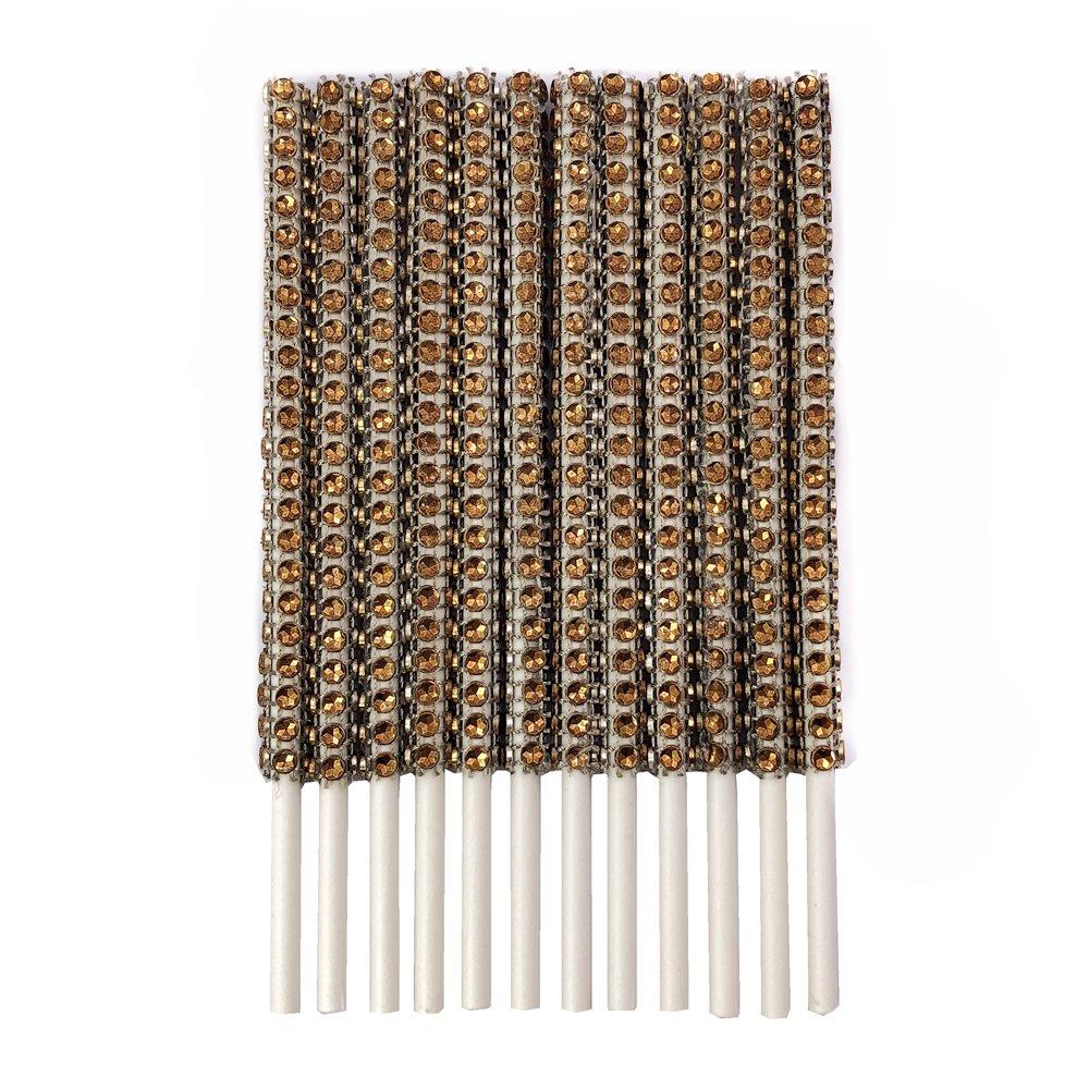 Silver, 72 Rhinestone Bling Paper Sticks for Lollipop Cake Pop Apple Candy Buffet Treat Party Favor 6 inch