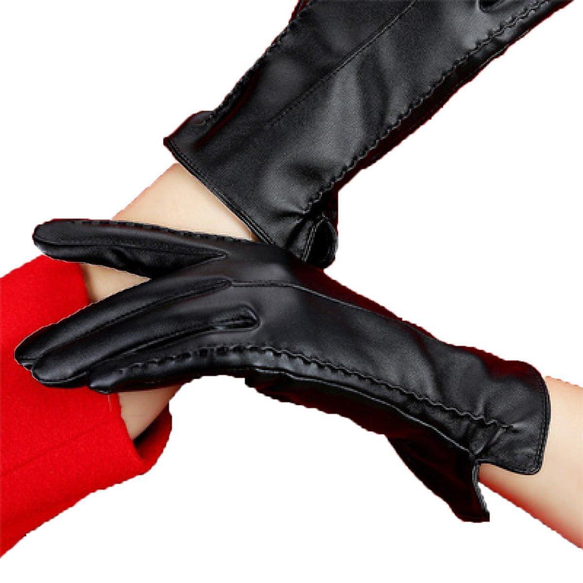 DIDIDD Guantes de mujer 'S Guantes de cuero Además de la cachemira, cálida y cálida,B,Un tamaño