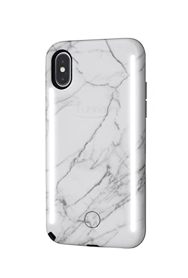 Lu Mee Duo Phone Case, White Marble | Front & Back Led Lighting, Variable Dimmer, Selfie Phone Case | Shock Absorption, Bumper Case | I Phone X / I Phone Xs by Lu Mee
