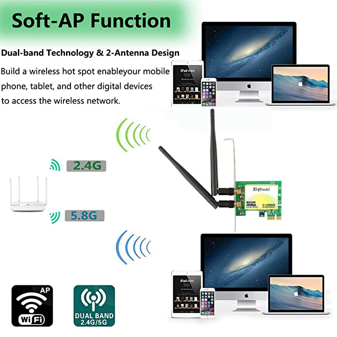 WiFi Card,PCI Express(PCIe) WiFi Card,300Mbps Wireless Network Card,5GHz/2.4GHz Dual-Band WiFi Adapter Card,Wireless Wifi adapter for ...