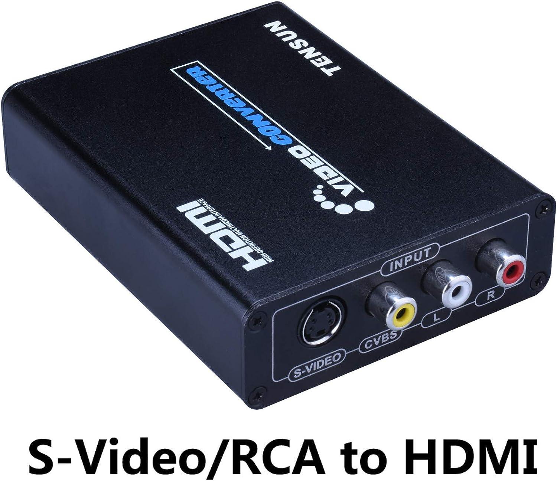 Tensun 3RCA AV CVBS Composite & S-Video R/L Audio to HDMI Converter Adapter Support 720P/1080P for PS2 PS3 NES SNES Nintendo 64 HDTV