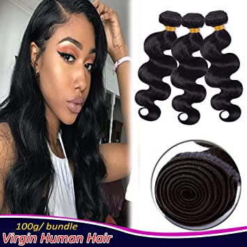 amazon com brazilian wavy hair bundles human hair sew in hair