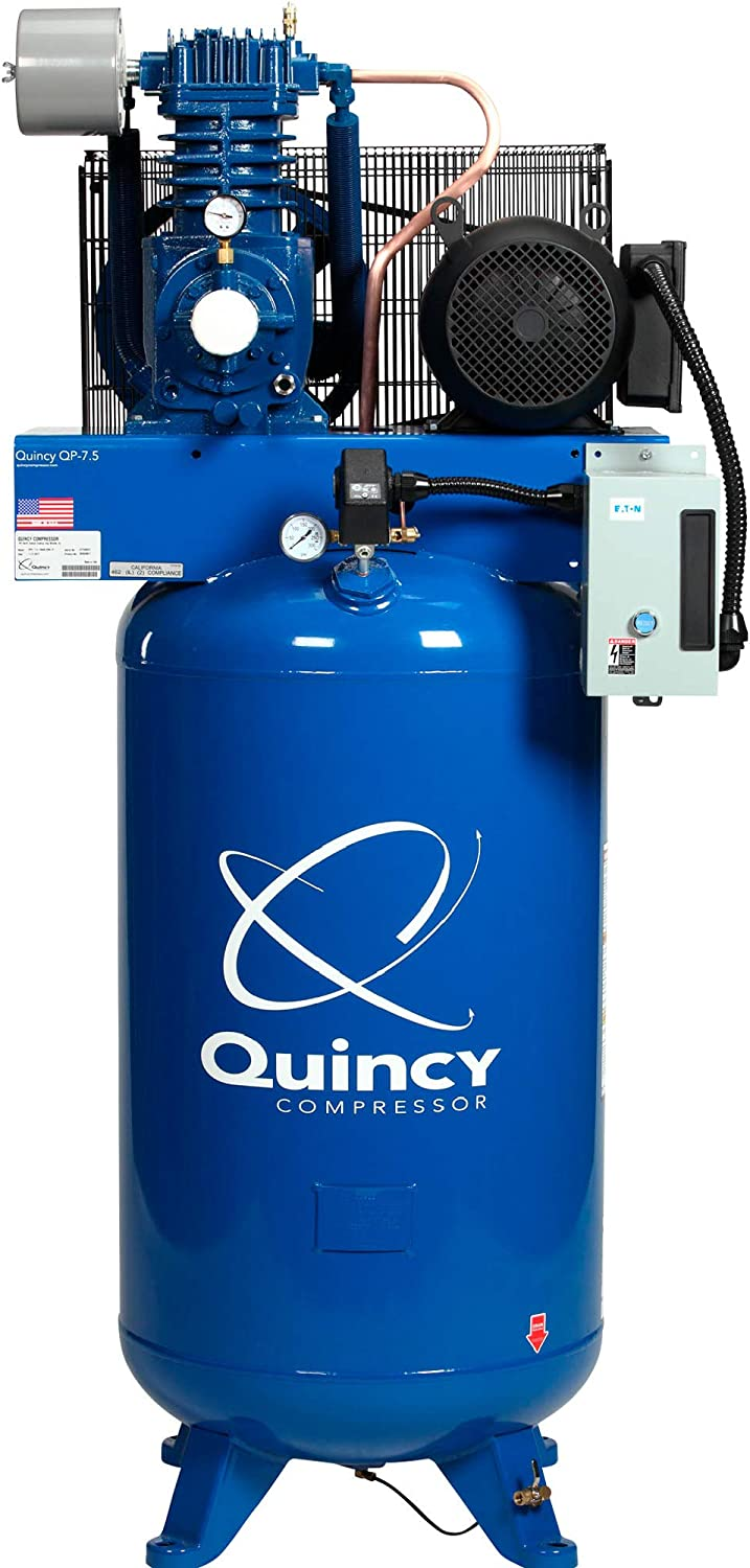 Quincy QP-7.5 Pressure Lubricated Reciprocating Compressor - 7.5 HP, 230 Volt, 3 Phase, 80 Gallon Vertical, Model Number 373DS80VCA23