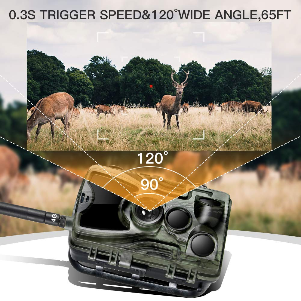 Suntekcam 4G LTE Cellular Trail Game Camera, 16MP 1080P Wildlife Hunting Camera(AT&T/Verizon), Micro SD Card and Card Reader Included, Night Vision IP65 Waterproof Cam,0.3s Scouting Camera by Suntekcam (Image #4)