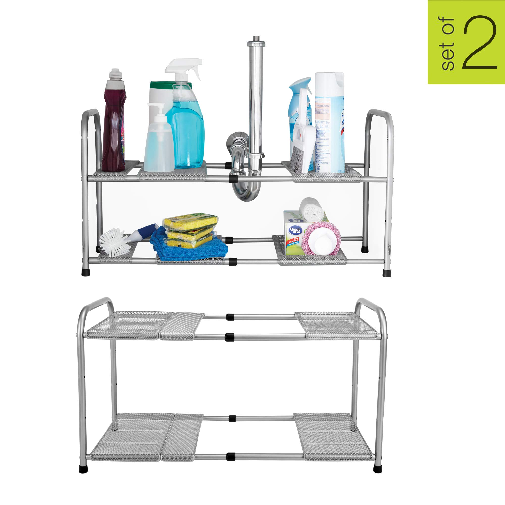 Smart Design 2-Tier Under Sink Expandable Organizer w/ 2 Adjustable Shelves - Expands 15 to 25 Inch - Solid Steel Metal Frame - Sinks, Pantry, Shelf Organization - Kitchen [Silver] - Set of 2 by Smart Design