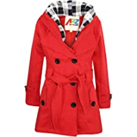 Kids Girls Overcoat Hooded Trench Coat Lapels Red Padded Long Parka Jacket 5-13Y