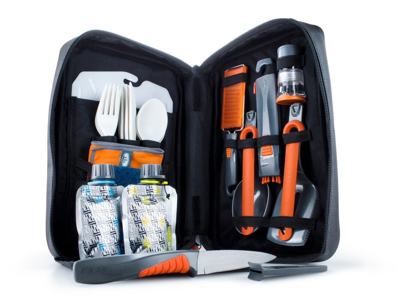 Camping cooking gear with 4 full sets of cutlery and utensils.