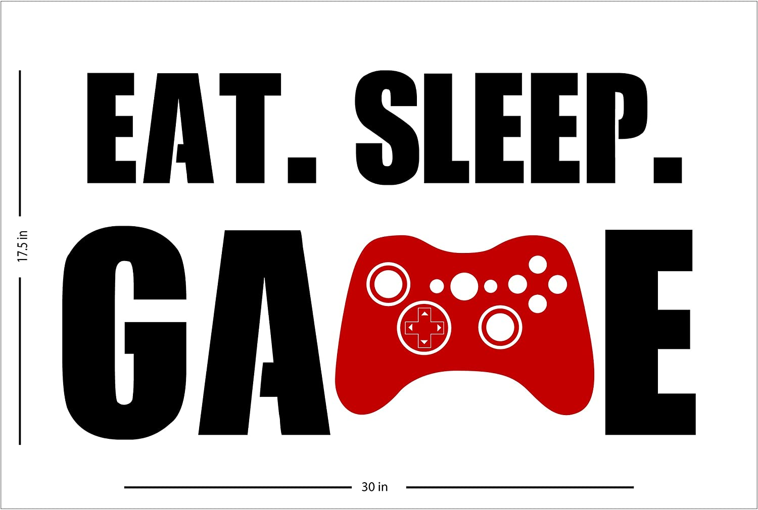Eat Sleep Game Wall Decal Gamer Gift Vinyl Sticker Playroom Quote Xbox Controller Video Gaming Poster Teen Room Kids Art Decor Mural 161ct