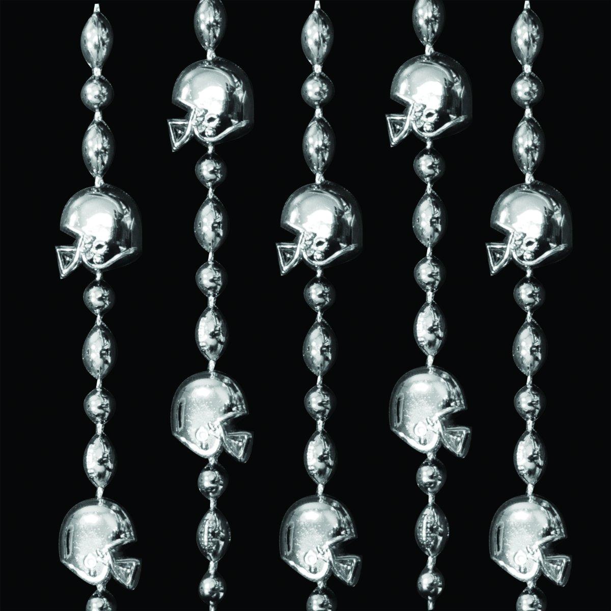 FlashingBlinkyLights Silver Football Helmet Mardi Gras Bead Necklaces (Set of 72)