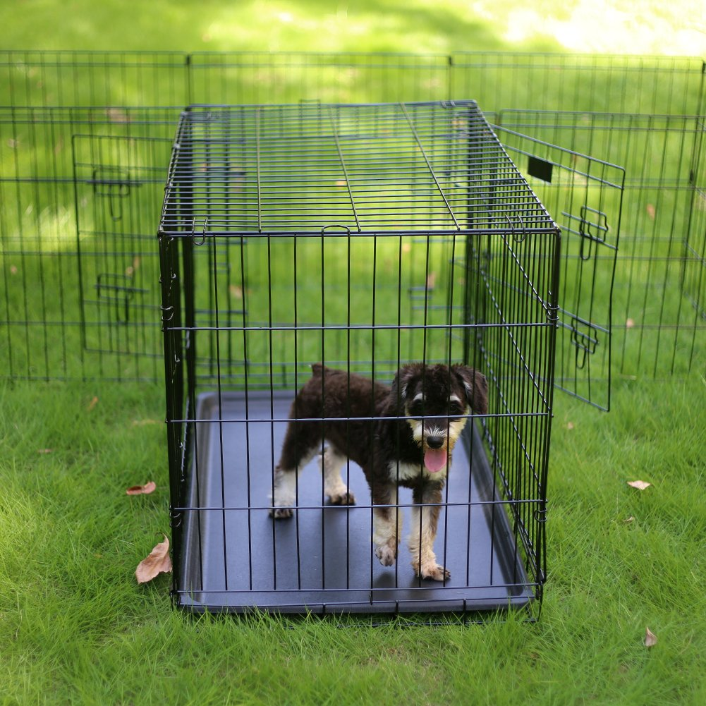 PEEKABOO Pet Playpen Dog Fence Foldable Exercise Pen Yard for Cats Rabbits Puppy Indoor Outdoor - 24'' Black by PEEKABOO (Image #7)