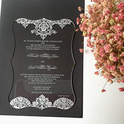 475x675 inch clear acrylic pocket wedding invitation card printing letters 3mm thickness - Invitation Card Printing