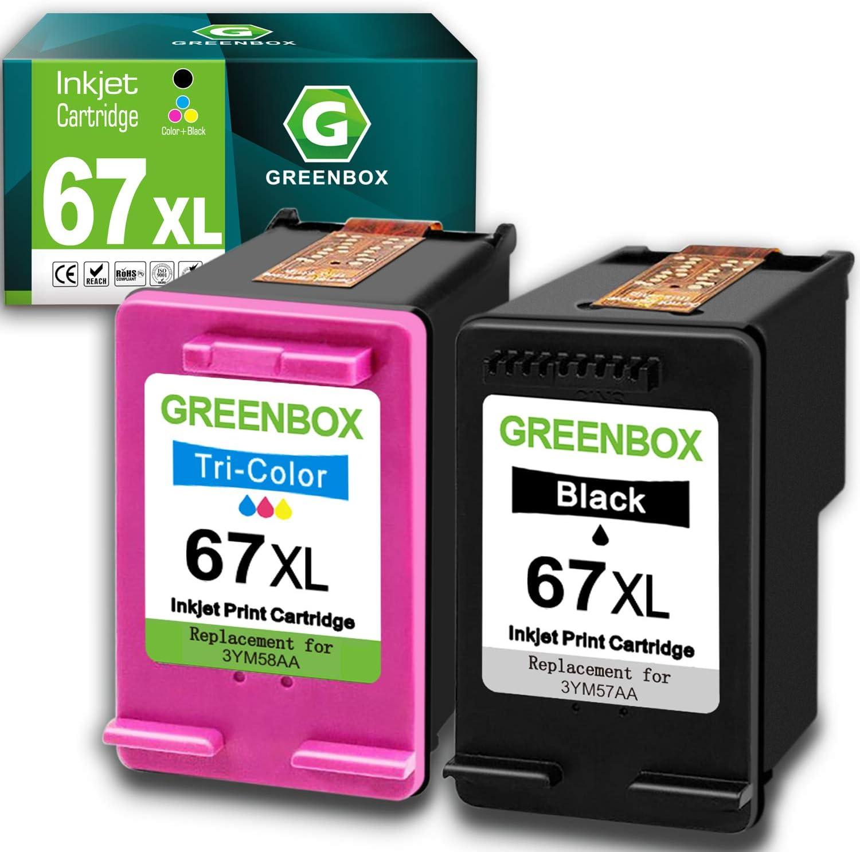 GREENBOX Remanufactured Ink Cartridge Replacement for HP 67 67XL for DeskJet 2732 2755 Envy 6052 6058 6075 DeskJet Plus 4152 4155 4158 (1 Black 1 Tri-Color)