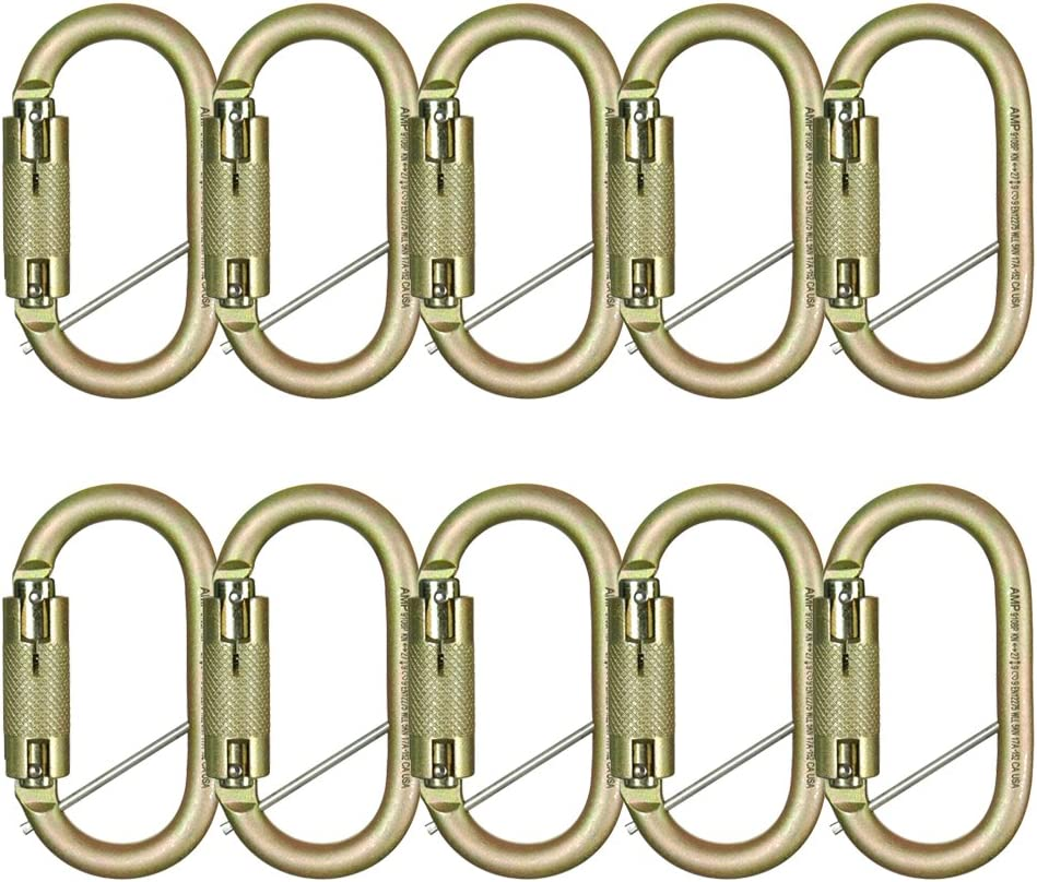 Fusion Climb Military Tactical Steel Auto Lock Oval Symmetrical Anchor Carabiner with Captive Eye Pin 5-Pack