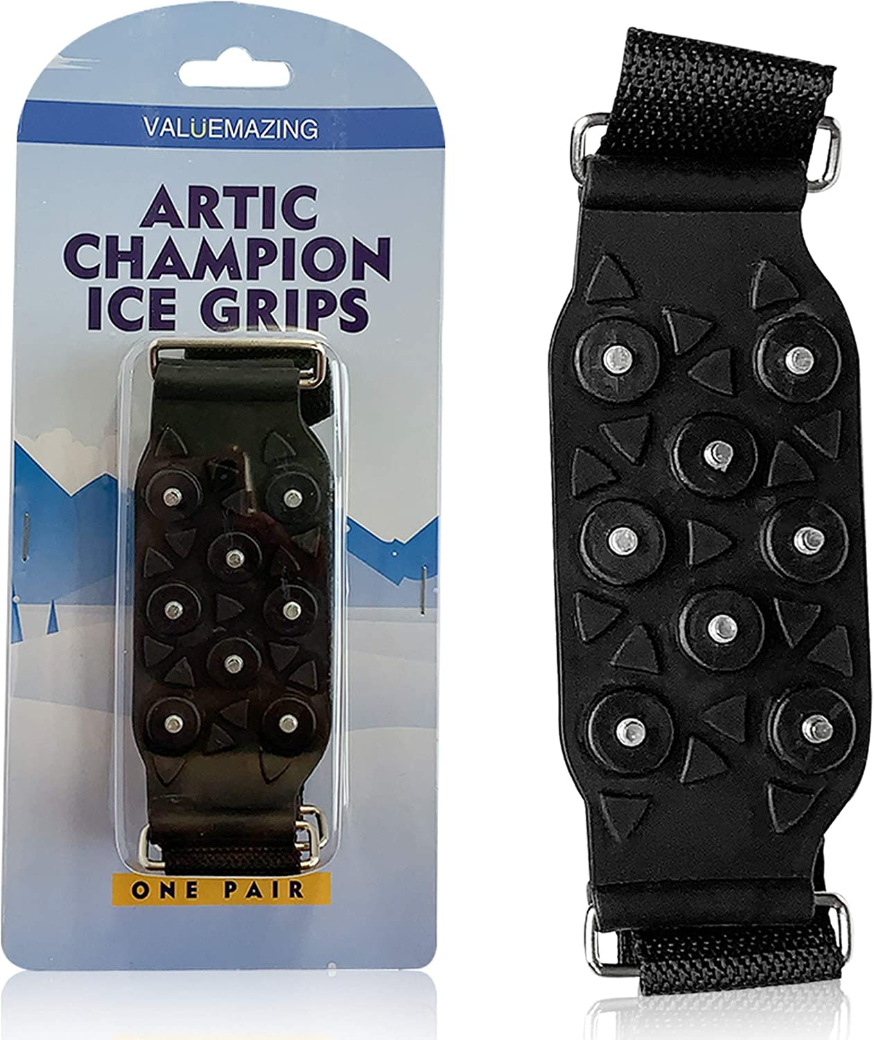 Valuemazing Arctic Champion Ice Grips Pair. Ultimate Ice & Snow Traction Cleats for Anti-Slip Soles. Fits Big Boots & Shoes Sizes 8.5-10.5. Elastic, Tough Silicone with Rugged Steel (Black, Large)