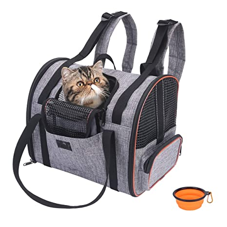 Brilliant Noyal Cat Carrier Backpack Airline Approved Dog Backpack Carrier Foldable Pet Car Seat Carrier With Mesh Windows For Puppy Rabbit And Small Evergreenethics Interior Chair Design Evergreenethicsorg