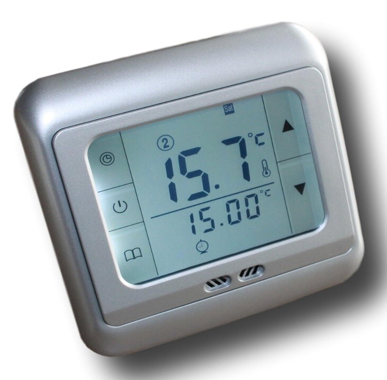 SM-PC/® Raumthermostat Silber programmierbar Touchscreen Digital weisse Hintergrundbeleuchtung #859