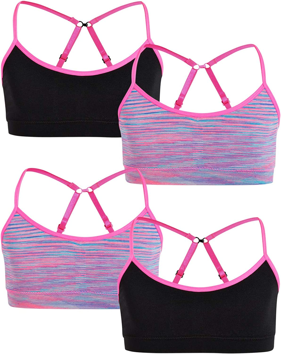 Rene Rofe Girl Training Bralette 4 Pack Seamless Racerback Sports Bra with Removable Pads