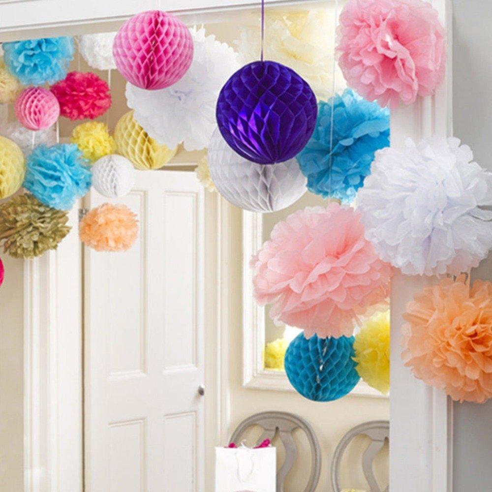 Baby Shower Decorations Hanging Tissue Paper Pom Pom White Blue