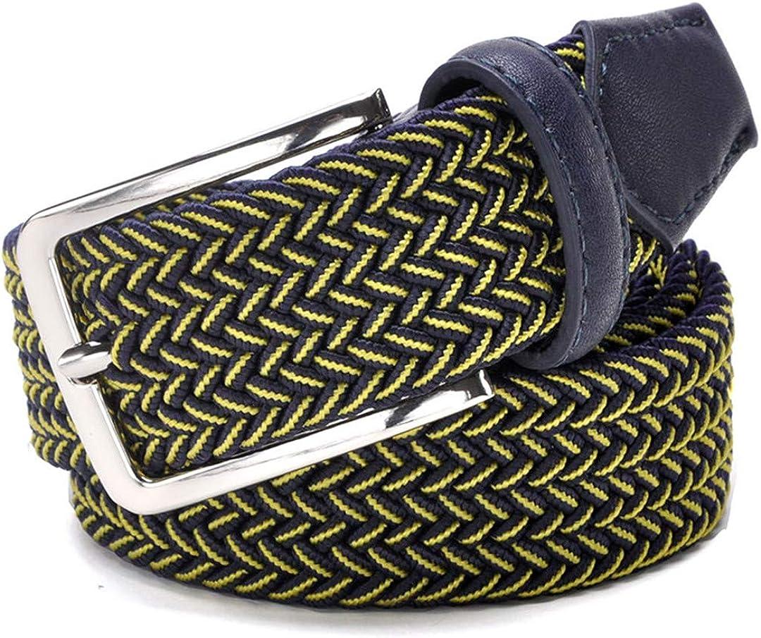 JUIHUGN Men Blue Elastic Stretch Waist Belt Canvas Stretch Braided Elastic Woven Leather Belt 1-3//8 Wide Hot Metal Stretch Belt for Men Yellow Navy 150cm