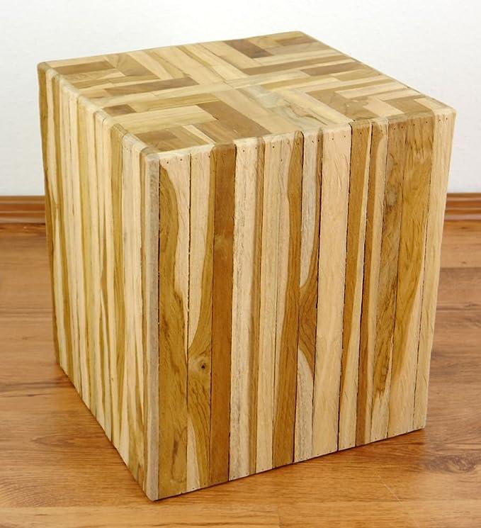 Beistelltisch 35 x 35 cm klappbar Bali Hocker Tischchen Akazienholz natur Tisch