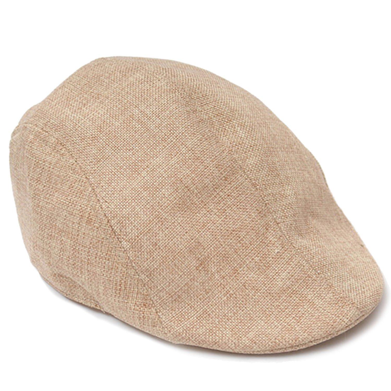 Unisex Men Women Linen-textured Pure Color Flat Peak Beret Cap Hat Beige Gosear