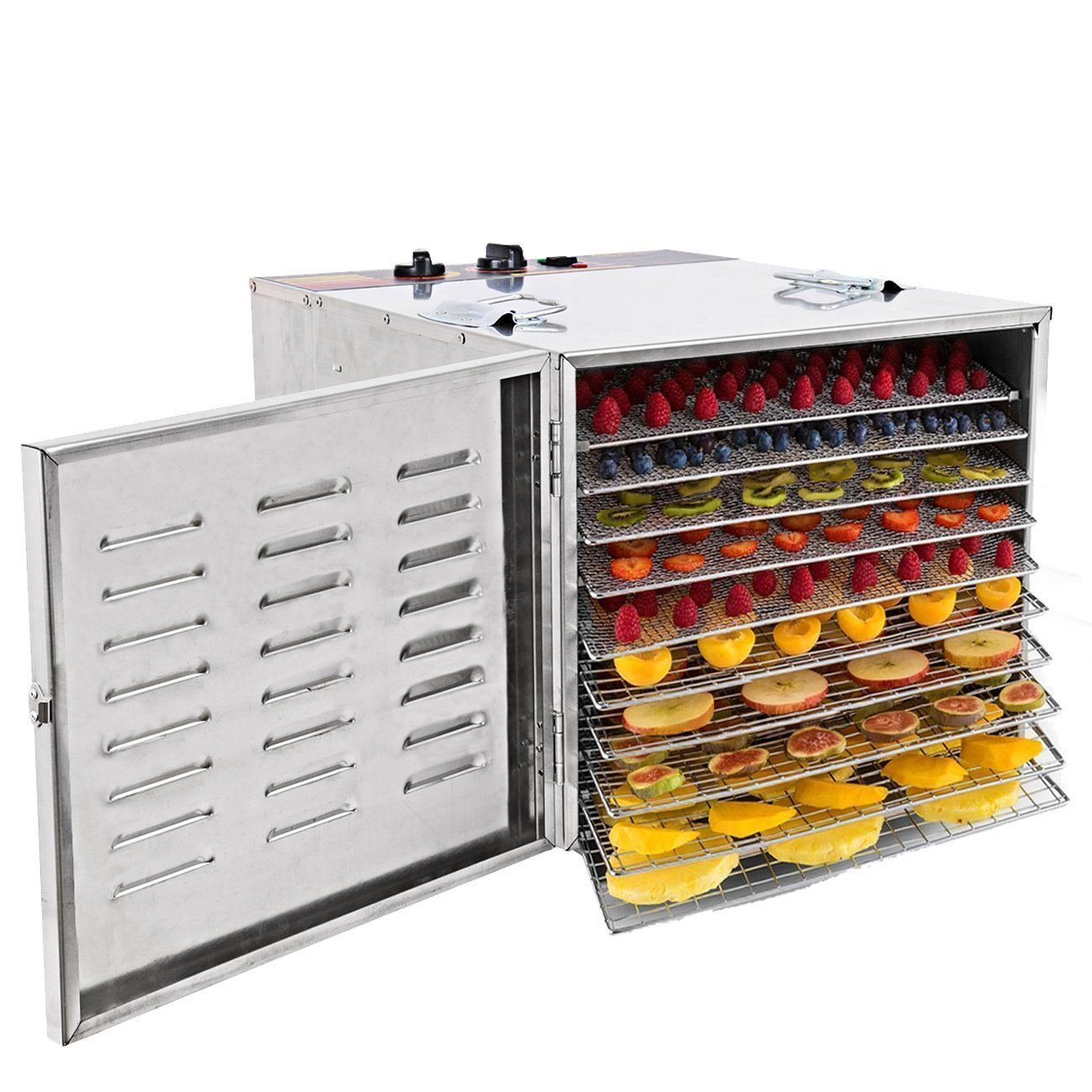 Ridgeyard 1000W Stainless Steel 10-Tray Countertop Food Dehydrator Fruit Jerky Dryer Food Saver Preserver Dehydration Vegetable Meat Beef Jerky Maker W/ Timer,Temperature Control for a Healthy Diet