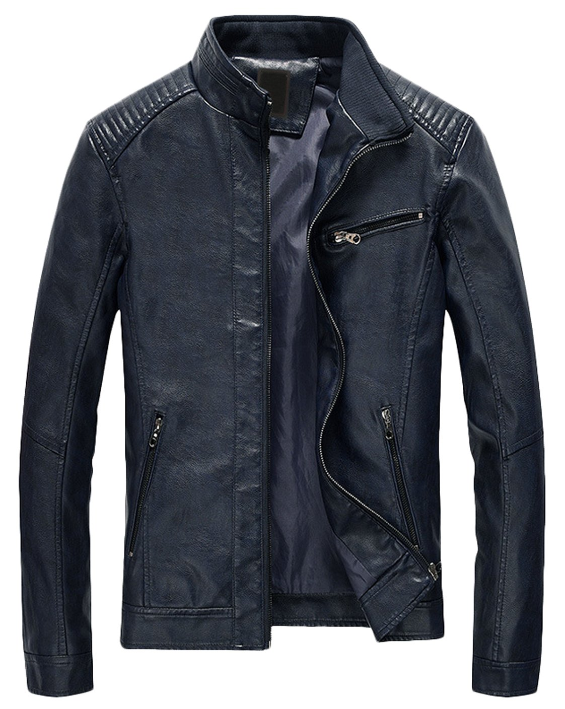 Youhan Men's Casual Zip Up Slim Bomber Faux Leather Jacket (Medium, Dark Blue) by Youhan