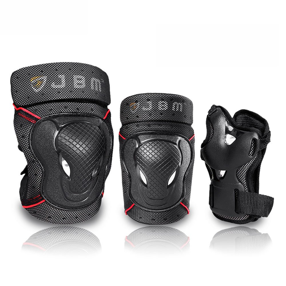 JBM Adult BMX Bike Knee Pads and Elbow Pads with Wrist Guards Protective Gear Set for Biking, Riding, Cycling and Multi Sports: Scooter, Skateboard, Bicycle, Rollerblades (Black, Adult) by JBM international