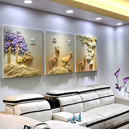 Wall Paintings CLOTHES UK Home Decor Art Three Panels 3D Stereoscopic Embossed Modern Mural Size 70x70cm Amazoncouk Kitchen