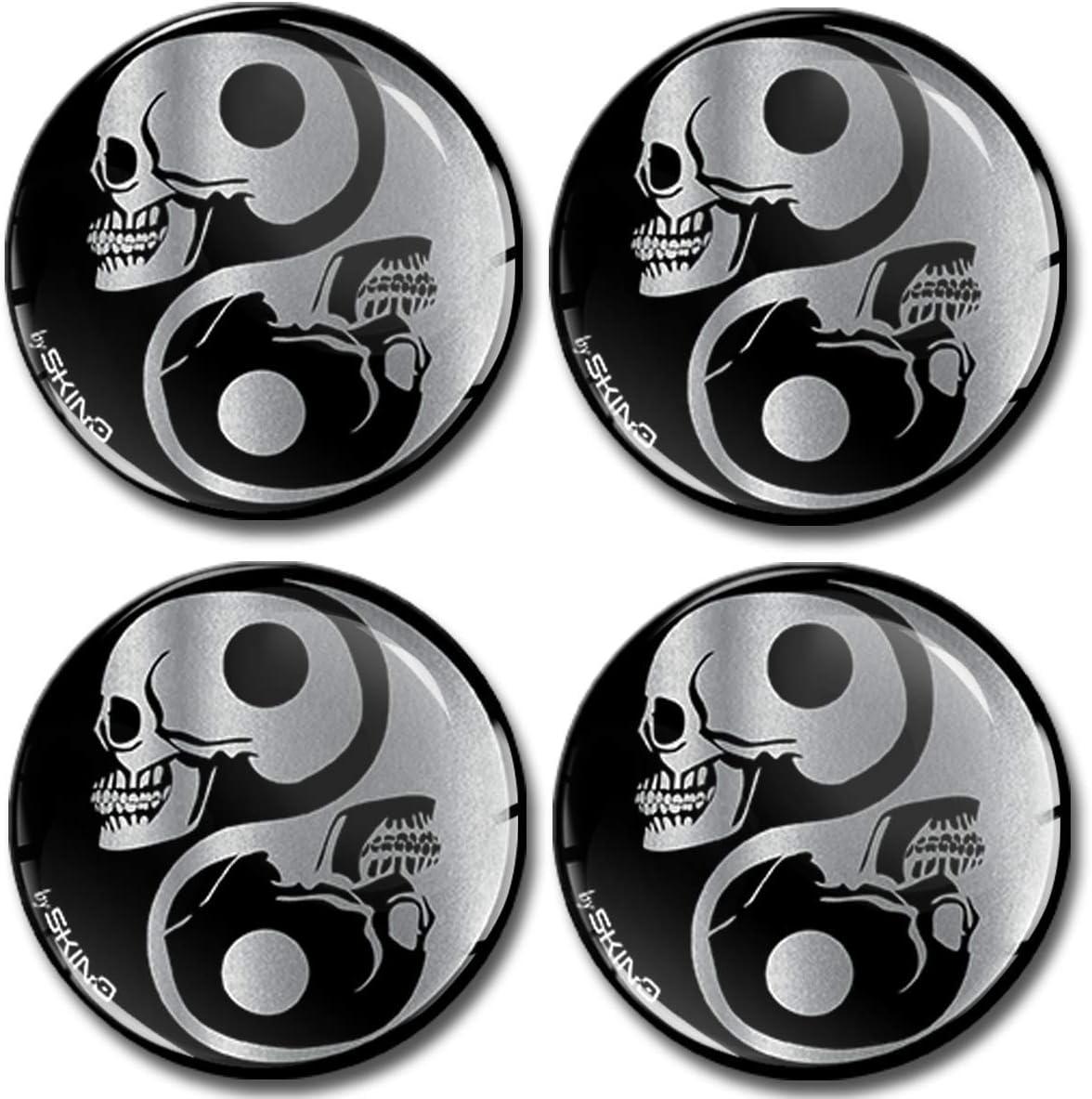 Skinoeu 4 X 60mm Aufkleber 3d Gel Silikon Stickers Symbol Yin Yang Silber Skulls Schädel Totenkopf Felgenaufkleber Für Radkappen Nabenkappen Radnabendeckel Nabendeckel Auto Tuning A 8260 Auto