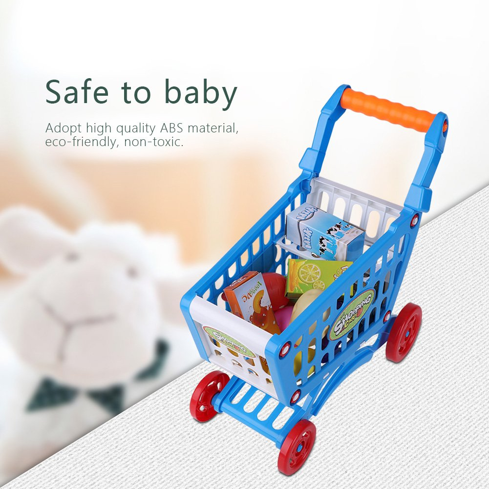 Kids Shopping Cart Precious Toys Kids Toddlers Pretend Role Play Food Fruits Playing Game with Groceries(Blue with Food) by Fdit (Image #5)