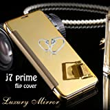 """For Samsung galaxy J7 Prime """"MOBISTYLE"""" New Luxury Smart Clear View Mirror Flip Cover For samsung j7 Prime (Gold)"""