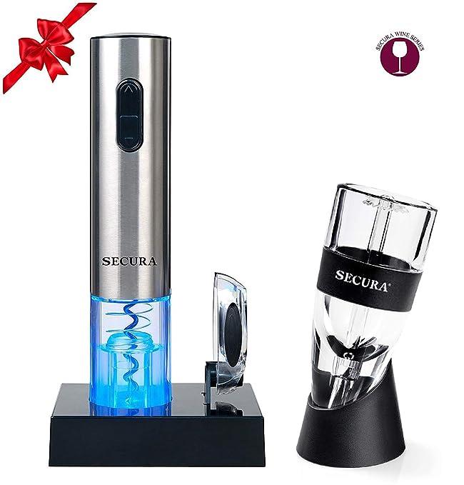 Secura SWO-3N-AR Premium Lover's Gift Set Electric Opener, Foil Cutter, Wine Aerator, Premium Set 7pc Premium Set 7pc