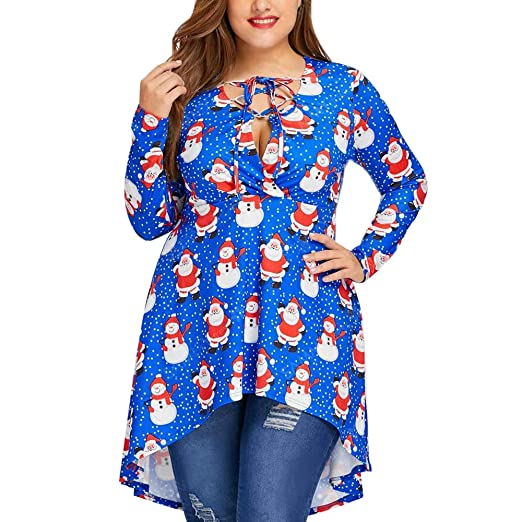 Youngh Womens Christmas Blouses Plus Size V Neck Bandage Printted