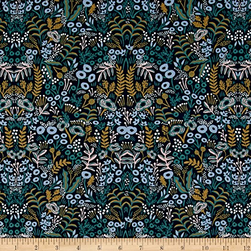 Cotton + Steel Rifle Paper Co. Menagerie Rayon Challis Tapestry Navy Fabric by The Yard