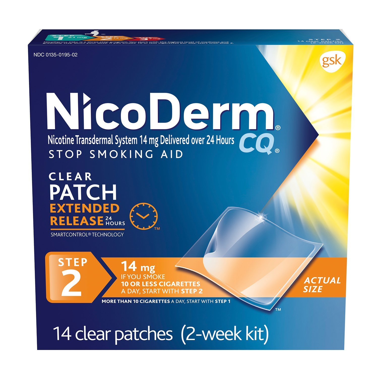 NicoDerm CQ Stop Smoking Aid 14 milligram Clear Nicotine Patches for Quitting Smoking, Step 2, 14 Count