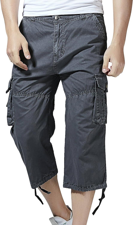 Aieoe Pantalones de Cargo Hombres Cortos Bermudas Shorts Casual Multi-Bolsillo Suelto Sin Cintura Trabajo Leisure Gris Oscuro