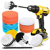HIWARE 16 Pieces Drill Brush Car Detailing Kit - Soft Bristle Power Scrubber Buffing Pads Polishing Sponge Pads with Extend A