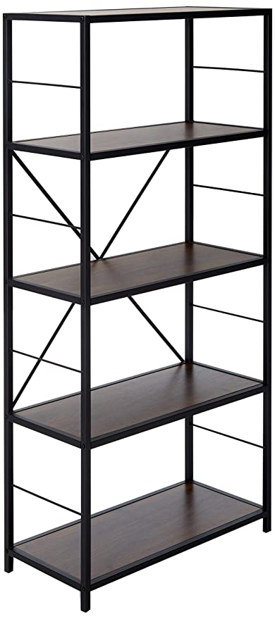Walker Edison 63quot Rustic Metal Wood Media Bookshelf Dark Walnut