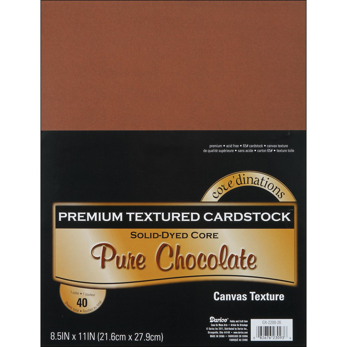 Darice Core'dinations Value Pack Cardstock 8.5X11 40/Pkg-Pure Chocolate - Textured 27122239 239402