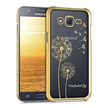 kwmobile Funda para Samsung Galaxy J5 (2015) - Carcasa Trasera de TPU con diseño I Love Freedom en Dorado/Transparente