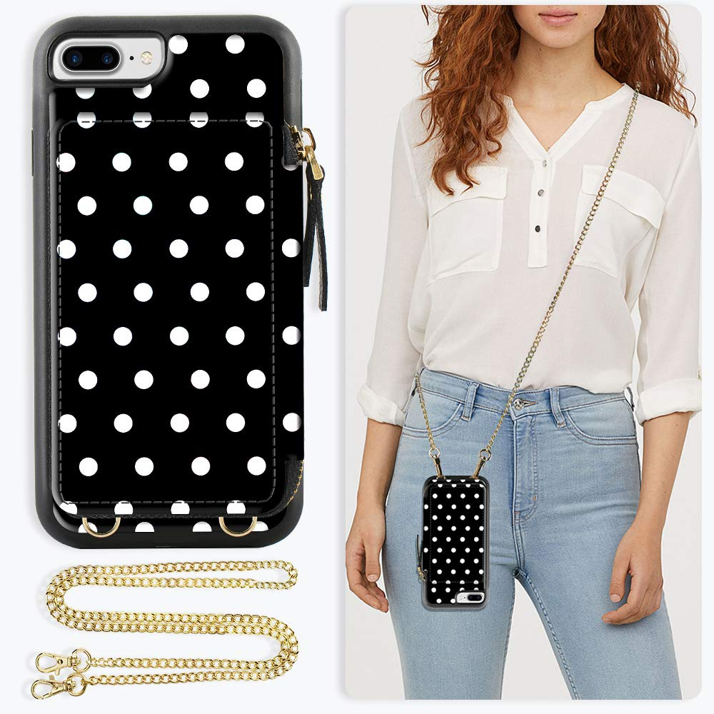 ZVE Case for Apple iPhone 8 Plus and iPhone 7 Plus, 5.5 inch, Wallet Case with Crossbody Chain Credit Card Holder Slot Zipper Purse Case for Apple iPhone 8/7 Plus and 8 Plus 5.5 - Polka Dots