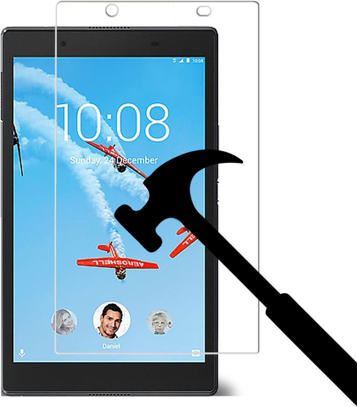 """2017 New Lenovo Tab 4 8 inch Glass Screen Protector, EpicGadget for Lenovo Tab 4 8"""" Tablet Released in 2017 Ultra HD Clear Anti Bubble Anti Scratch 9H Hardness Tempered Glass Screen Protector"""