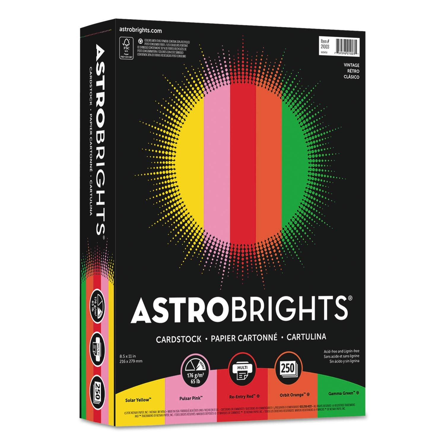 Astrobrights Color Cardstock, 65lb, 8 1/2 x 11, Assorted, 250 Sheets - 21003, (Pack of 2)