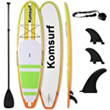 "Komsurf 10"" 6 Fiberglass Stand Up Solid Paddle Board, SUP Paddleboard, Package Includes Adjustable Paddle, Center Fin…"