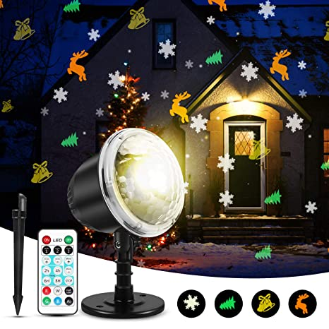 Remote Control Outdoor Christmas Lights.Christmas Projector Lights Kingwill Indoor Outdoor Holiday Lights With Remote Control 4pcs Pattern Light Bead For Xmas Home Party Garden Landscape