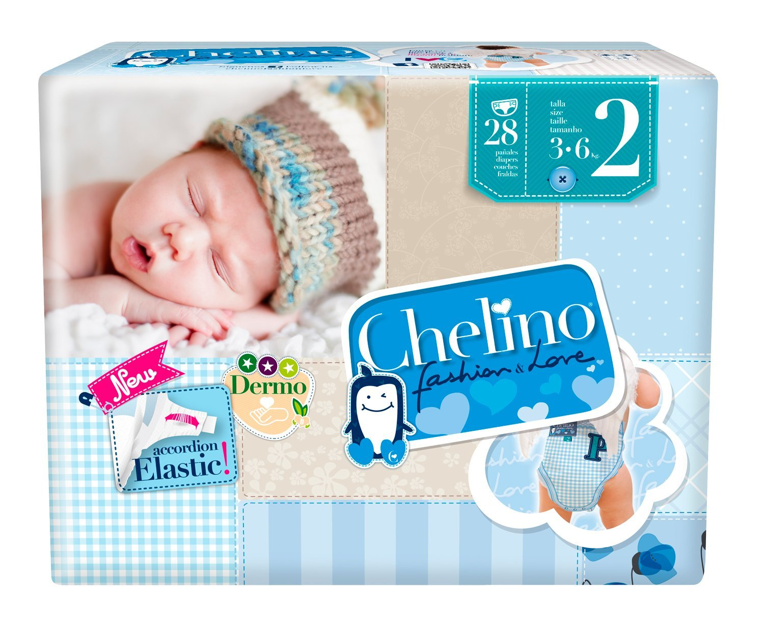 PAÑAL CHELINO LOVE T/2 3-6 KG 28 UDS product image