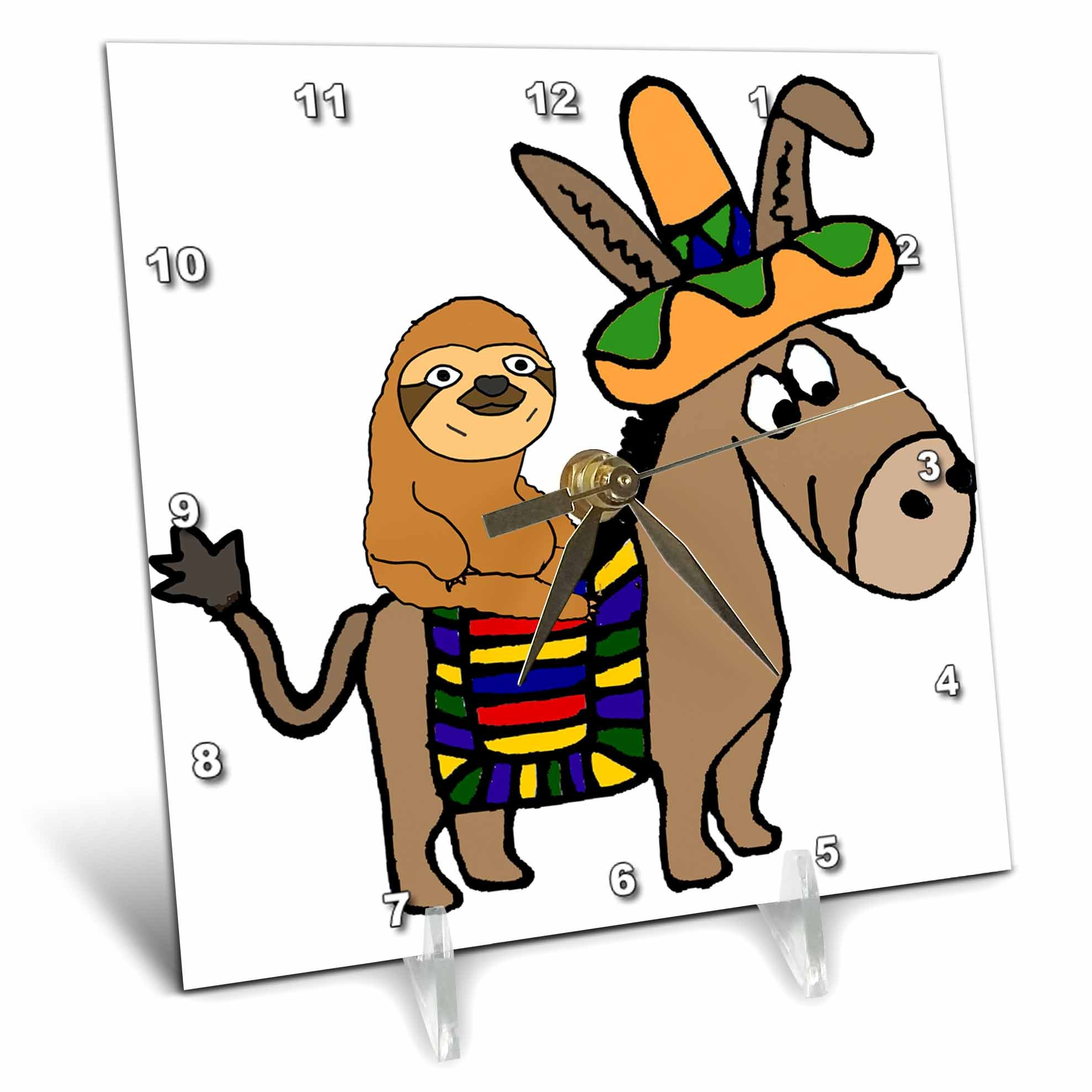 3dRose All Smiles Art Animals - Funny Cool Sloth Riding Mexican Burro with Sombrero - 6x6 Desk Clock (dc_273488_1)